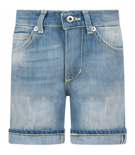 Short ''Holly'' celeste denim per bambino con iconica D