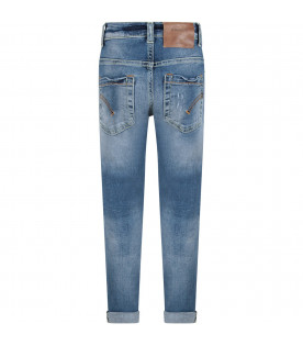 DONDUP KIDS Light blue ''Roddy'' boy jeans witn iconic D