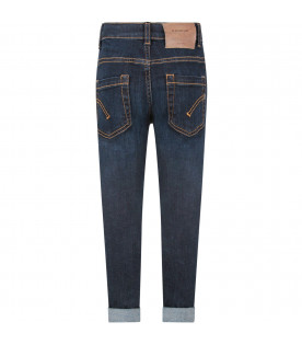 DONDUP KIDS Blue ''George'' boy jeans with iconic D