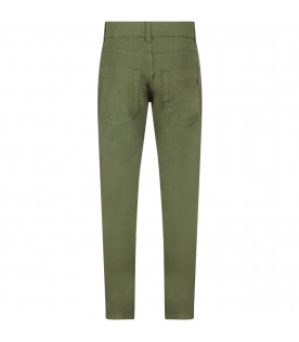 DONDUP KIDS Military green boy pants with iconic D