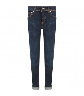 DONDUP KIDS Blue ''Monroe'' girl jeans with iconic D