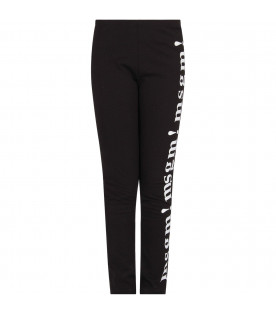 MSGM KIDS Black girl leggings with white Times New Roman logos