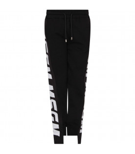 MSGM KIDS Black kids sweatpants with side stripes with white logo