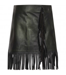 MSGM KIDS Black leather girl skirt