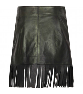 Black leather girl skirt