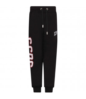 GCDS KIDS Black boy sweatpants with white and red logo