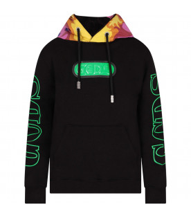 GCDS KIDS Black boy sweatshirt with neon green logo