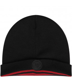 GCDS KIDS Black kids hat with white logo
