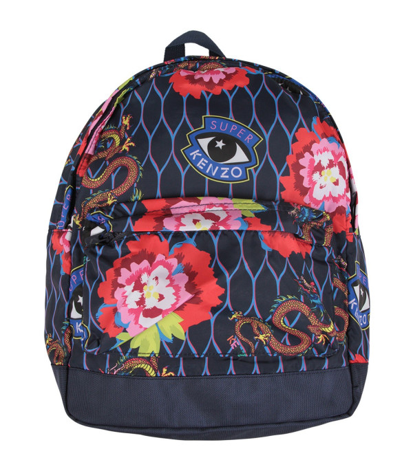 KENZO KIDS Blue girl backpack with japanese flowers and dragons
