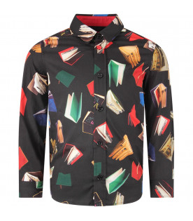 PAUL SMITH JUNIOR Black boy shirt with colorful books