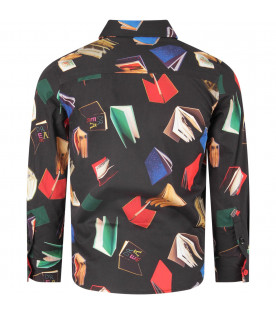Black boy shirt with colorful books