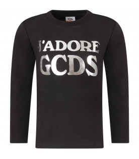 GCDS KIDS Black girl T-shirt with silver logo