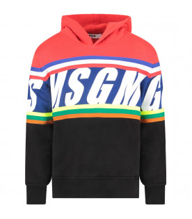 MSGM KIDS Black boy sweatshirt with red hood and logo