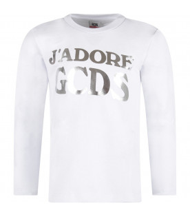 GCDS KIDS White girl T-shirt with silver logo