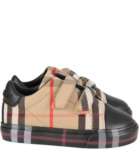 Black babykids sneaker with check