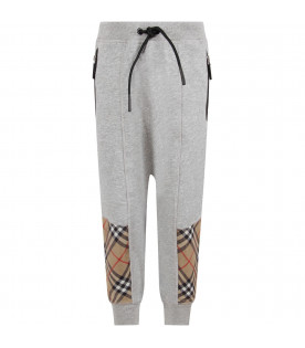 BURBERRY KIDS Grey boy pants with checked panel