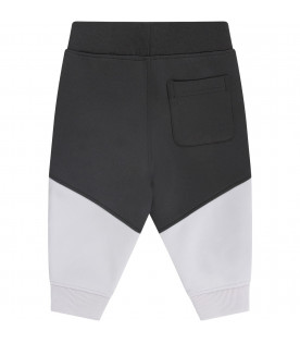BURBERRY KIDS Grey and black babyboy pants with white logo