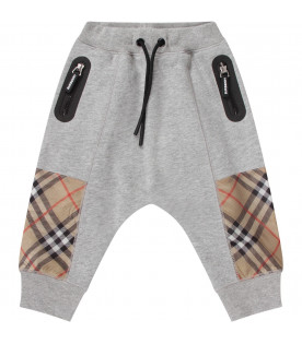 BURBERRY KIDS Grey babyboy pants with checked panel