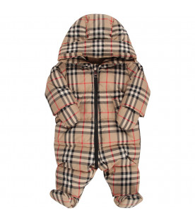 BURBERRY KIDS Beige babykids overall with vintage check