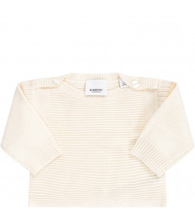 BURBERRY KIDS Ivory babykids set with black logo