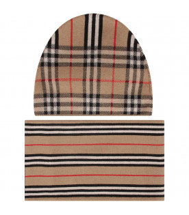 BURBERRY KIDS Beige kids set with hat and scarf