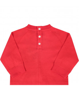 Red babykids T-shirt with black logo and writing