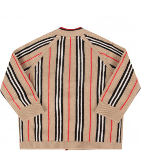 BURBERRY KIDS Beige babykids cardigan with iconic stripes
