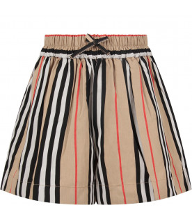 BURBERRY KIDS Beige girl short with iconic stripes