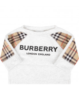 BURBERRY KIDS Grey babygirl sweatshirt with black logo