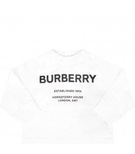 9be4ad73c4d BURBERRY KIDS White babykids T-shirt with black logo and writing ...
