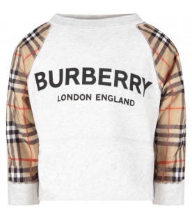 BURBERRY KIDS Grey girl sweatshirt with black logo