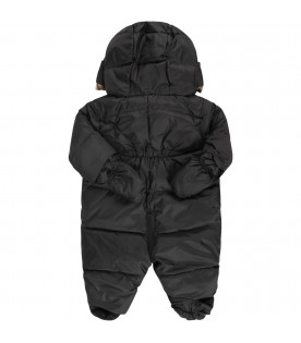 BURBERRY KIDS Black babykids overall with white logo