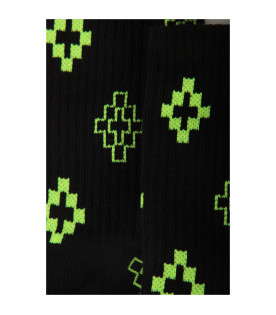 Black kids socks with neon yellow iconic cross