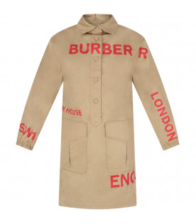 BURBERRY KIDS Beige girl dress with red logo and writing
