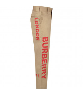 Beige boy pants with red logo