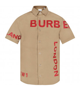 Beige boy shirt with red logo and writing