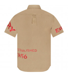 BURBERRY KIDS Beige boy shirt with red logo and writing