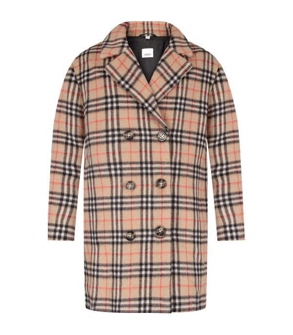 BURBERRY KIDS Beige girl coat with vintage check
