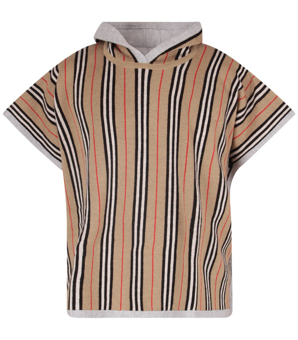 BURBERRY KIDS Beige kids poncho with iconic stripes