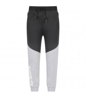 Grey and black boy pants with white logo