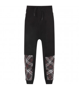BURBERRY KIDS Black boy pants with checked panel