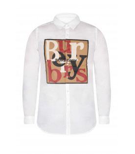 BURBERRY KIDS White boy shirt with colorful and black logo
