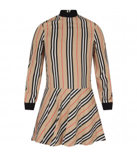 Beige dress for girl with iconic stripes