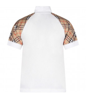 BURBERRY KIDS White boy T-shirt with black logo