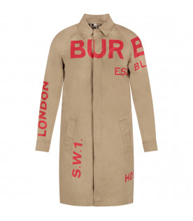 BURBERRY KIDS Beige kids trench with red logo and writing
