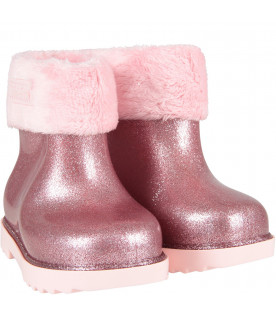 Pink lurex girl rain boots with logo