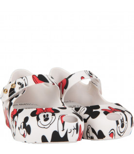 MINI MELISSA White girl ballerina flats with Mickey and Minnie Mouse