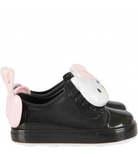Black girl shoes with Hello Kitty