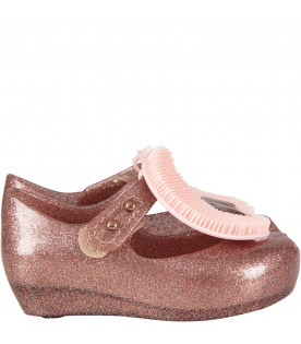 MINI MELISSA Pink girl ballerina flats with Moon and star