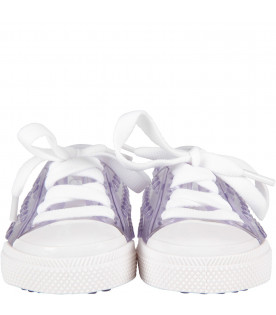 MINI MELISSA Clear kids shoes with white details